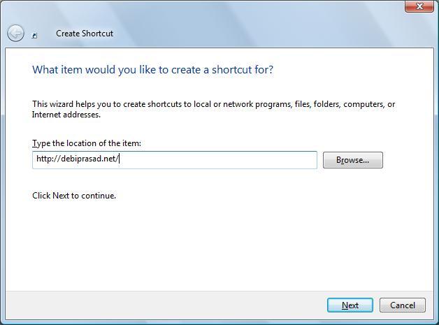 Provide URL of Shortcut