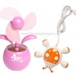 USB Gizmo Combo: Mini USB Flower Desk Fan + Ladybug 4-port USB 2.0 Hub