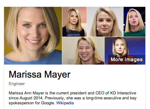 Screenshot of Google Knowledge Graph displaying Marissa Mayer