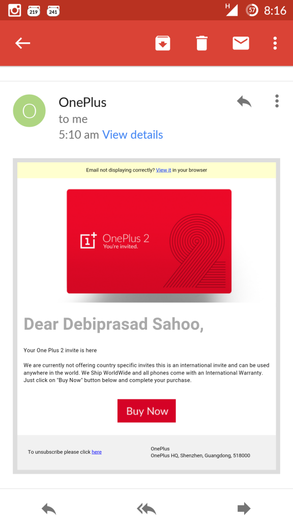 OnePlus Two fake invite